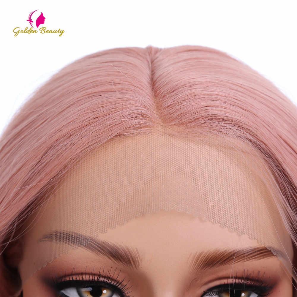 Золотой красота 26 дюймов длинные волосы волна парик синтетические волосы Кружева передние парики средняя часть розовый парик для американских женщин косплей