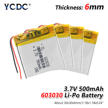 1/2/4 шт 3,7 V 603030 500mAh литий-полимерный аккумулятор Li-po Батарея Перезаряжаемые 3,7 v Напряжение Pcb заряд Защищенный Литий-ионный аккумулятор для Батарея
