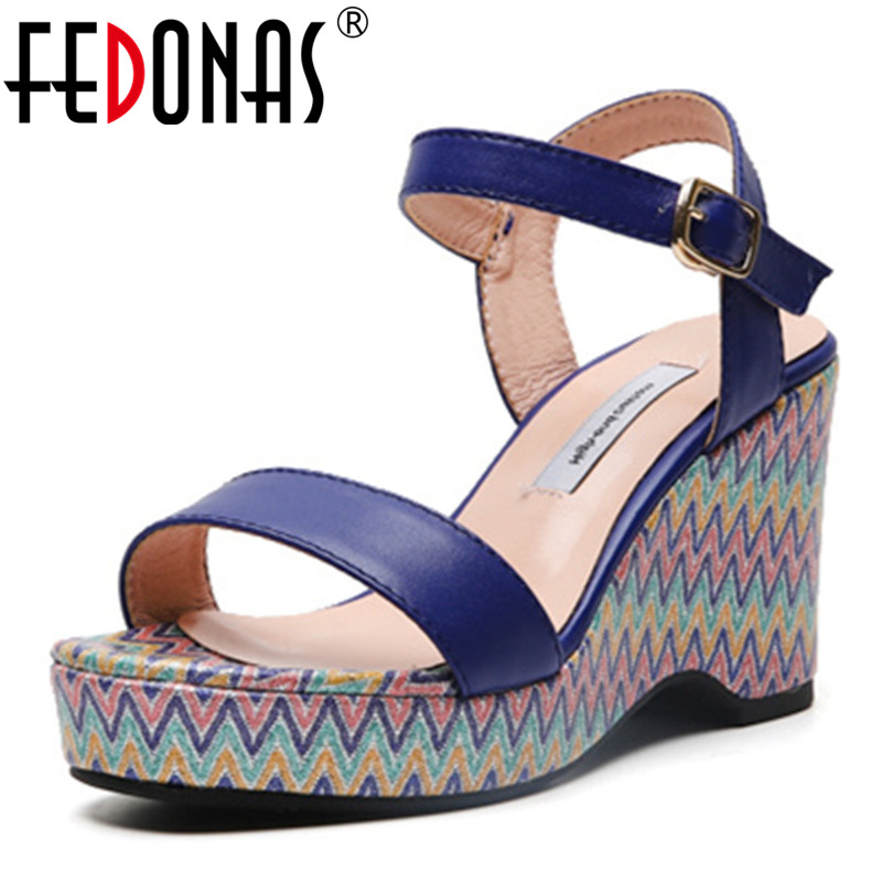 FEDONAS 2019 New Classic Design Genuine Leather Women Sandals Spring Summer High Heels Casual Shoes Sweet