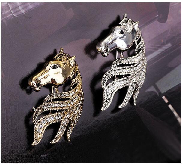 Trung quốc zodiac horse head snaps một corsage pin trâm khóa