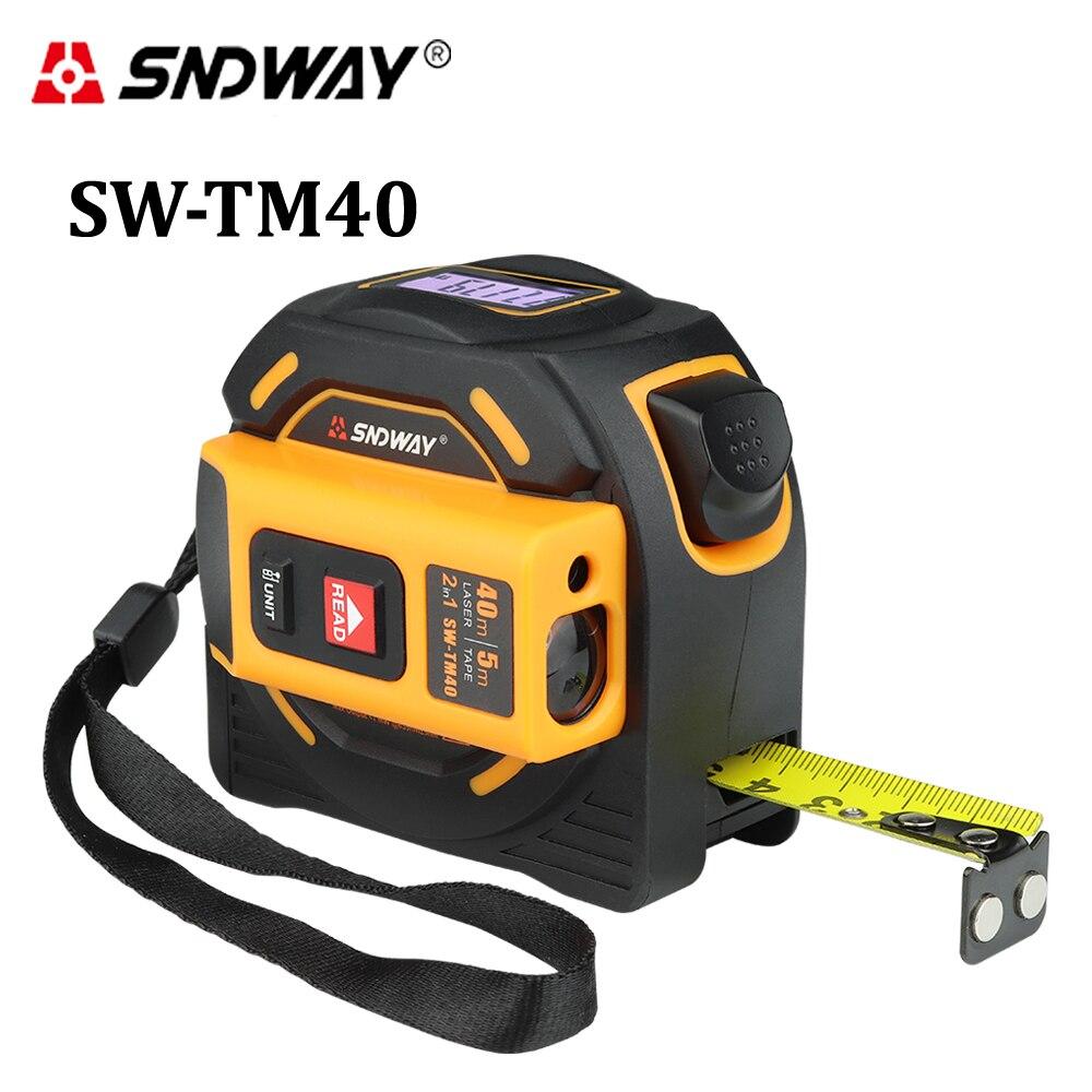 SNDWAY medidor de distancia láser rango de 40 m 60 m cinta láser medida digital retráctil 5 M telémetro láser gobernante herramienta de Encuesta