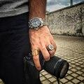 Venta caliente Anillo de Acero Inoxidable Negro y Plata 2016 Partido Casco Espartano Hombres Anillo de La Joyería PUNKY de la Nueva Llegada anillos mujer