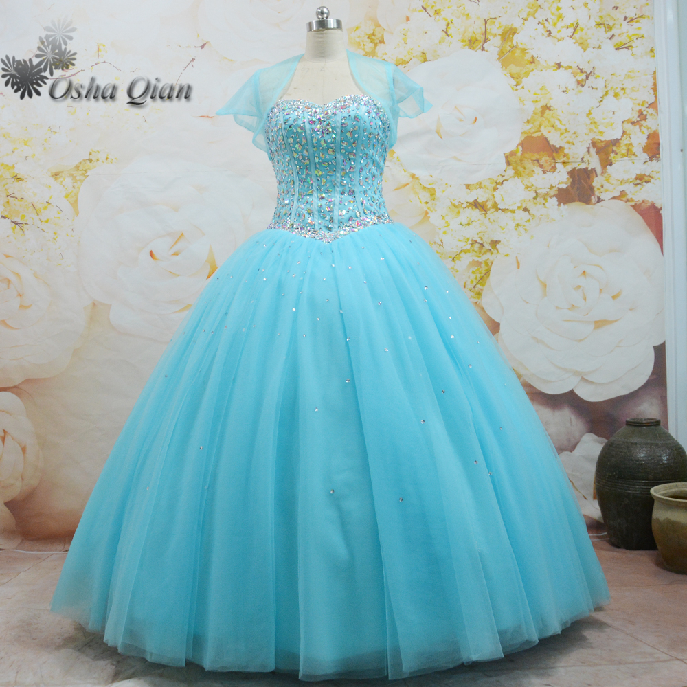 Baby Blue 2 Piece Quinceanera Dresses With Jacket Crystals Puffy ...