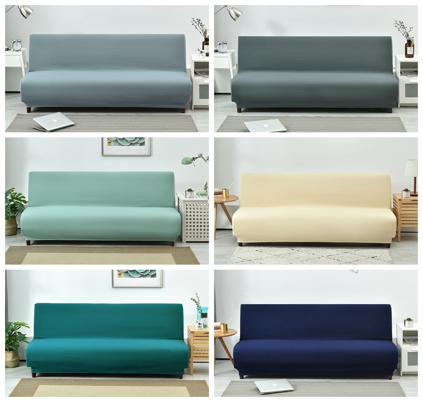 Universal Armless Sofa Bed Cover Folding Modern Seat Slipcovers Stretch Covers Cheap Couch Protector Elastic Futon Spandex Cover