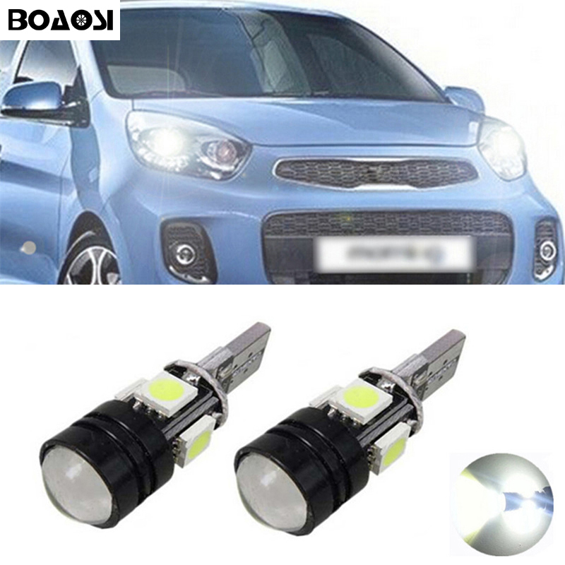 BOAOSI 2x T10 LED 5050 4smd + 1.5W Auto LED T10 Canbus W5W Geen fout Wedge Light voor Kia sportage rio k2 k3 k5 ceed cerato sorento
