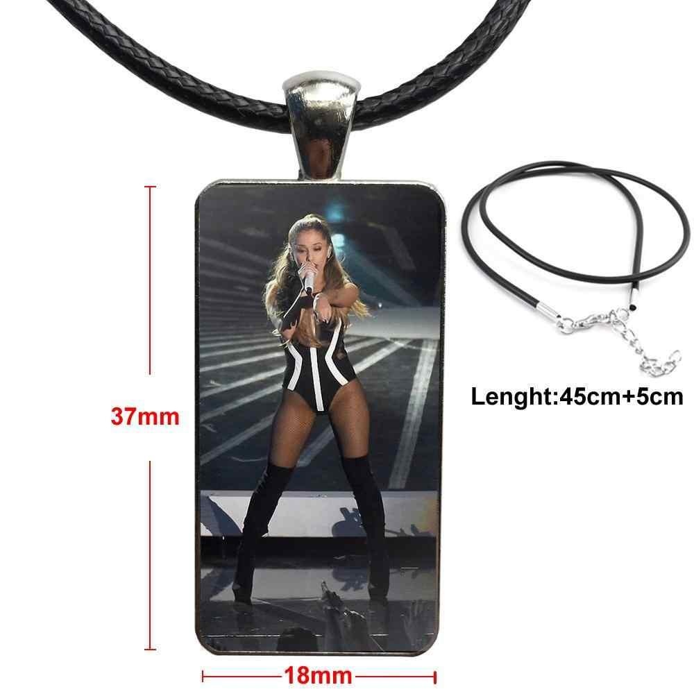 Stainless Steel Warna Kaca Cabochon Dengan Berbentuk Persegi Panjang Liontin Kalung Kalung Untuk Anak Perempuan Seksi Ariana Grande