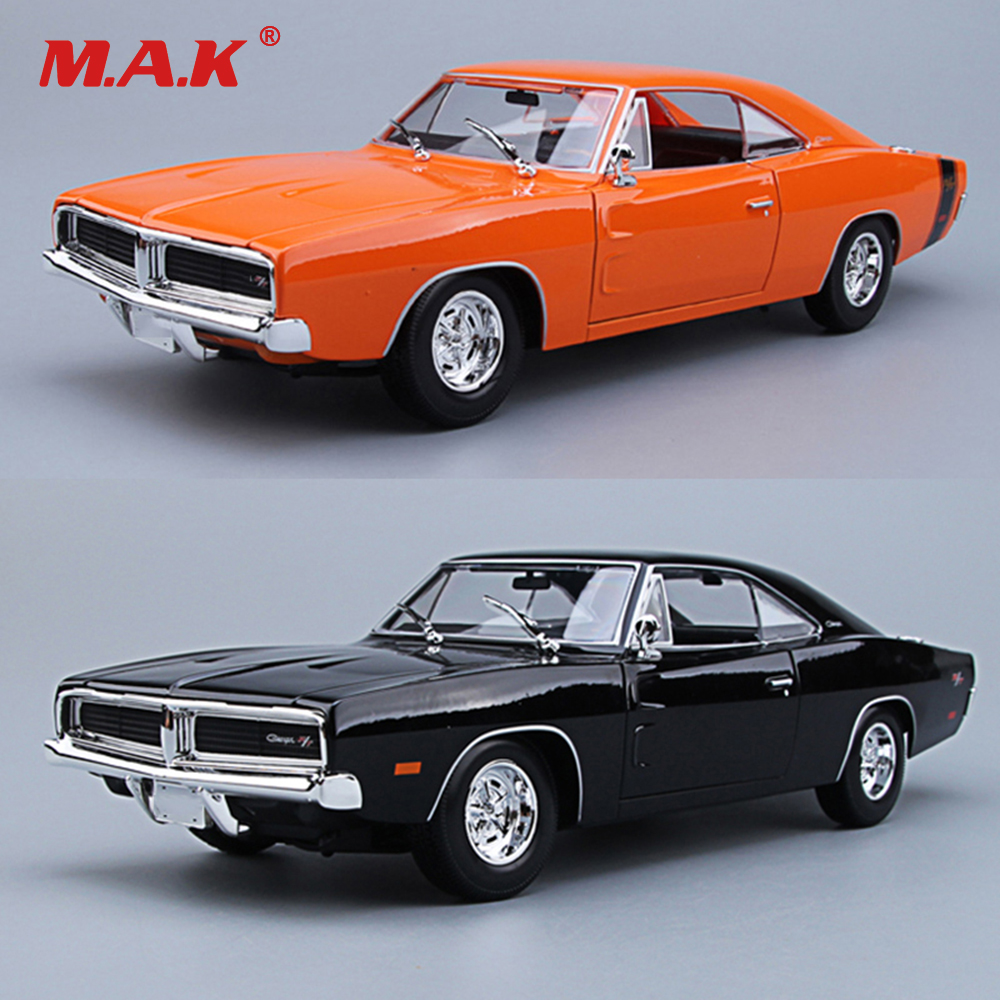 Kid Car Toys 1:18 Scale Diecast Car Model 1969 Alloy Muscle Car Model Charger R/T Black/Orange Color Children Gift Collection