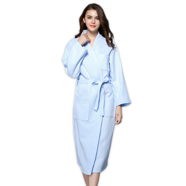 8f6a430c4d Simple blue waffle 100% cotton robes women long kimono chinese bathrobes  couple SPA robes bride robes wedding Plus size