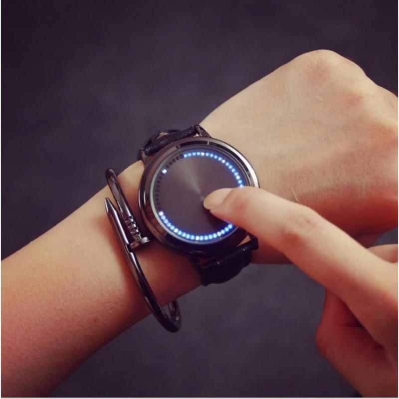 Creative Personality Minimalist Touch Screen Waterproof LED Watch Leather Men Women Couple Watch Electronic Watch