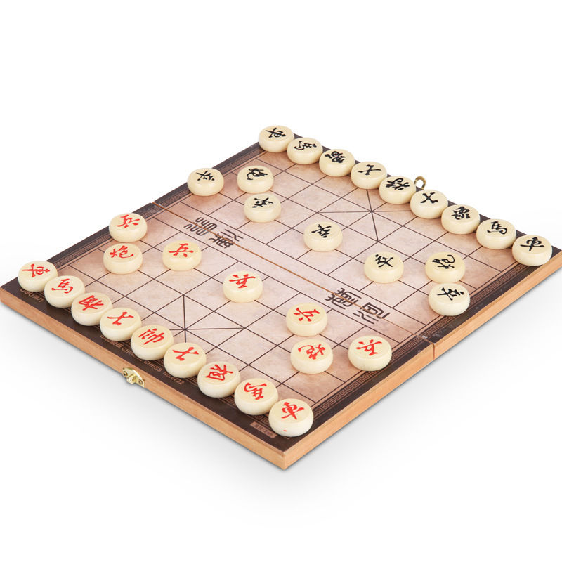 1 Set Wooden Chinese Chess Set Magnetic Foldable Board Game 28*28*2 cm XiangQi Chess Game foldable magnetic folding shogi set boxed portable japanese chess game sho gi exercise logical thinking 25 25 2 cm