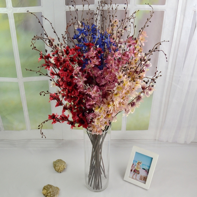 New High Quality 90cm Silk Orchids Branches Red Pink Blue For Home Decoration Centerpiece Artificial Flower