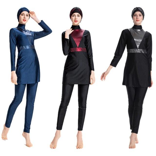 2019 Sederhana Muslim Baju Renang Wanita Islam Tiga Potong Penuh Cover Solid XL Ukuran Islam Baju Renang Lengan Panjang Hijab Beachwear