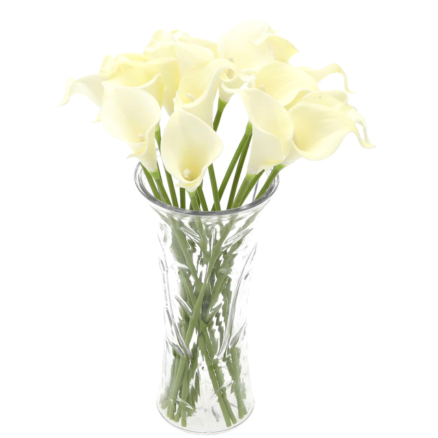 Best 18x Artificial Calla Lily Flowers Single Long Stem Bouquet Real Home  Decor Color:Creamy
