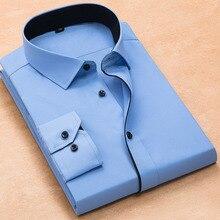 בתוספת גודל 8xl אופנה רך להנמיך צווארון שחור כפתור ארוך שרוולים אריג מוצק עסקי גברים שמלת חולצות לא מול כיס