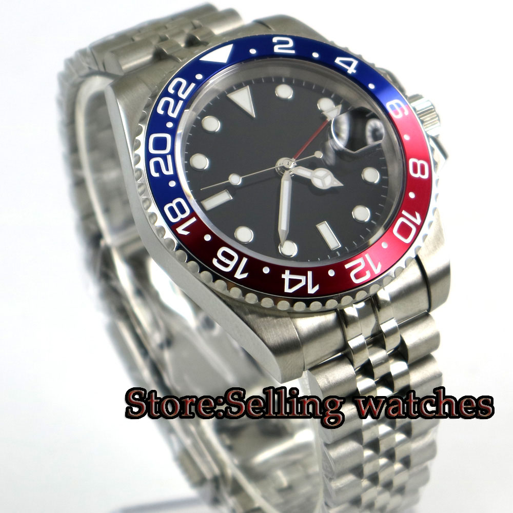40mm PARNIS Black sterile dial Sapphire Glass GMT Jubilee strap Luminous Hands Date Steel Case Automatic Movement men's Watch