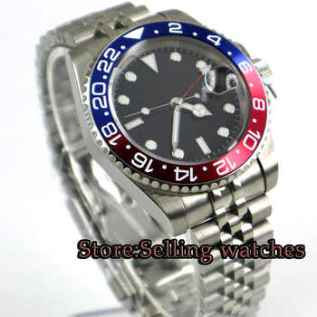 40mm PARNIS Black sterile dial Sapphire Glass GMT Jubilee strap Luminous Hands Date Steel Case Automatic Movement men's Watch - DISCOUNT ITEM  44% OFF All Category