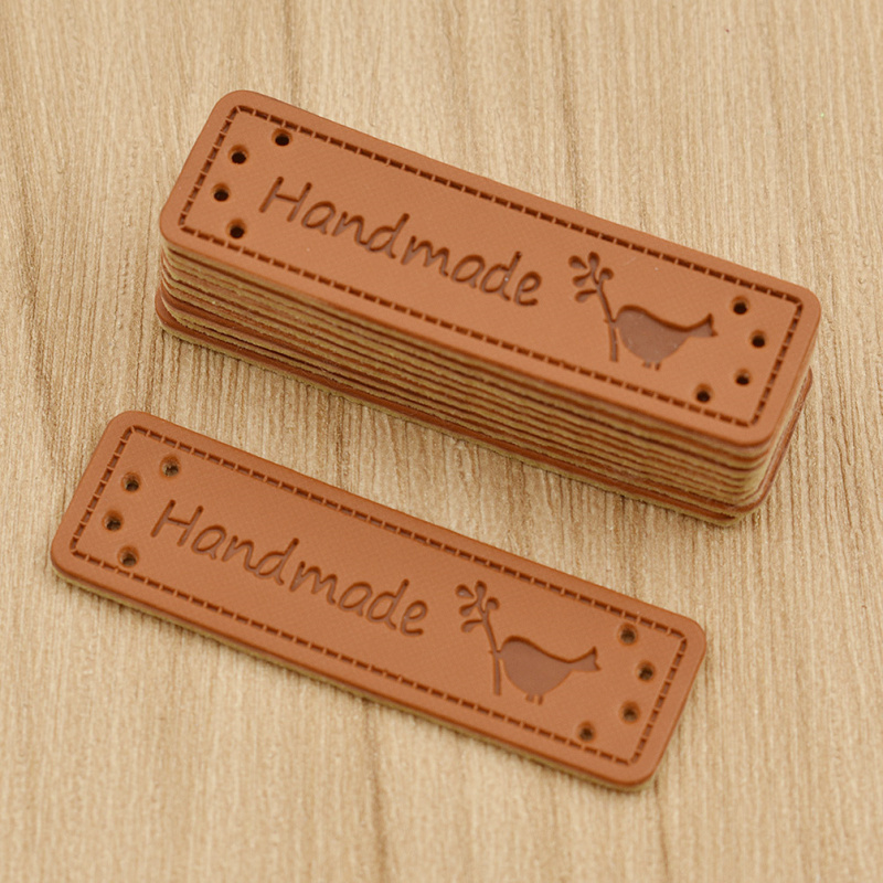 50pcs Personality Mutli Pattern Sewing Handmade PU Leather Labels For Garment Bag Needlework Decoration