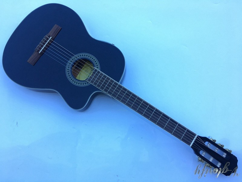 black thin body cutway electric classic guitar performance cutway classic guitar with hard case