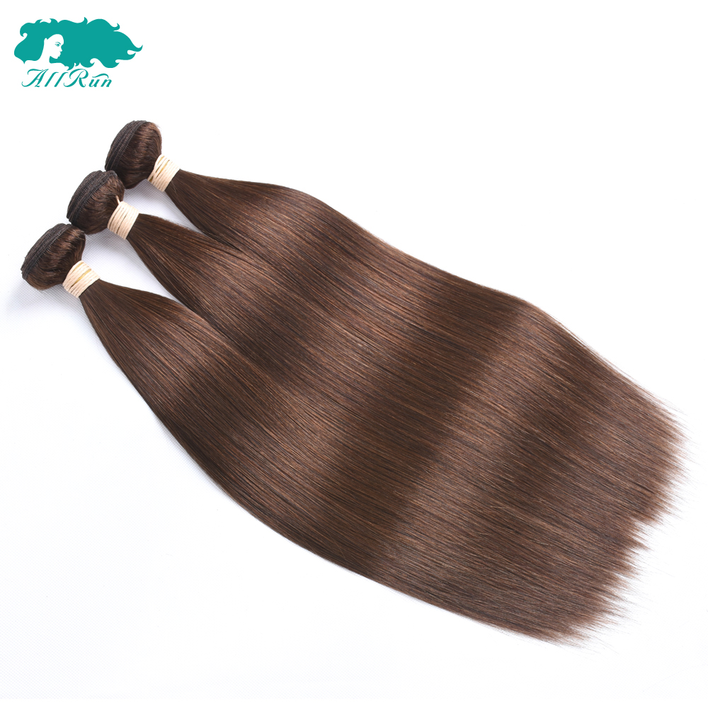 Allrun Brazilian Straight Hair Bundles 4# Light Brown 100% Double Weft Human Hair None Remy Hair Bundles 3Pcs/lot Free Shipping(China)