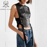 Summer tops for women sheepskin genuine leather crop top motorcycle female black sexy OL Slim sleeveless leather tank top