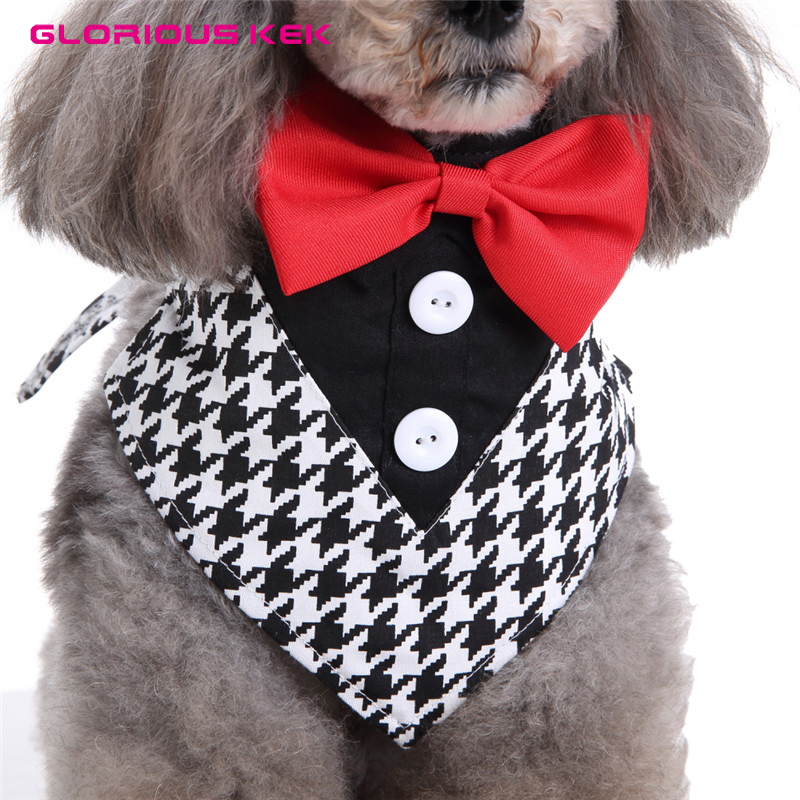 GLORIOUS KEK Dog Tuxedo Halsbanden Wedding Formal Dog Bandana met - Producten voor huisdieren