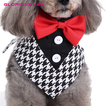 GLORIOUS KEK Anjing Tuxedo Kerah Pernikahan Formal Dog Bandana dengan Dasi & Leher Dasi Desain Slip-Over-The Collar Pet Bandana S / M / L
