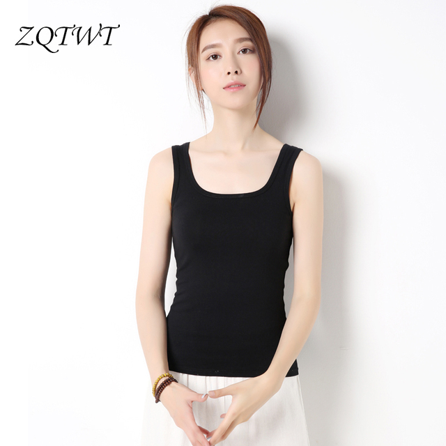 440f4e9ae91 ZQTWT Summer Style Tank Top Woman Camisole Sexy Vest Slim Singlet Sleeveless  Black White Top Women Blouse Camisole 3BX013