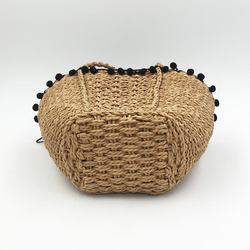 REREKAXI New Bohemian Beach Bag for Women Cute Handmade Straw Bags Summer Grass Handbags Drawstring Basket Bag Travel Tote 10