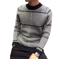 Autumn Winter Houndstooth Sweater Men Fashion Casual Pullover Thicken Knitting Sweater Male Striped Sweaters
