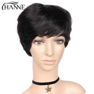 Image 4 - Hanne 毛 100% 人毛ウィッグわずかな波状かつらショート黒黒人女性グルーレスの remy 毛かつら