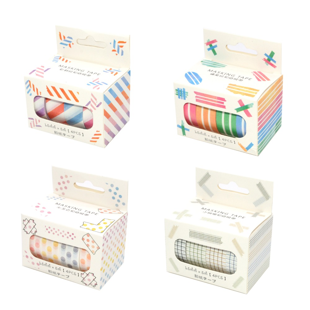 4 Pcs Washi Tape Set Masking Tape Stickers Scrapbooking Washitape Grid Vintage Dot Papelaria Criativa Ruban Adhesif Decoratif