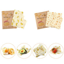 3Pcs Beeswax Food Wraps Food Covers Reusable Eco-Friendly Wash Wrap Stretch lids Saran Wrap
