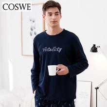 Coswe новые зимние пижамы Наборы 100% хлопок Для мужчин пижамный комплект одежда с длинным рукавом Пижамный костюм Для мужчин S Pijamas Masculinos Повседневное пижамы костюм