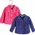 Girl children spring and autumn outerwear trench polka dot windproof top child turn-down collar coat free shipping