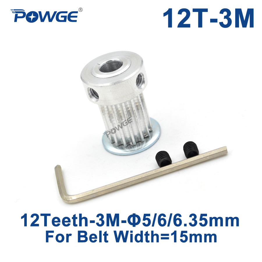 POWGE 12 Teeth HTD 3M Synchronous Pulley Bore 5/6/6.35mm for Width 15mm HTD3M Timing belt HTD3M Pulley Belts Wheel 12Teeth 12T купить недорого в Москве