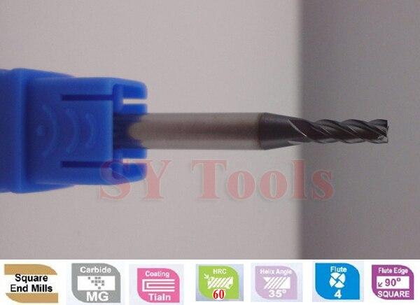 10 pcs 4mm Four Flutes Spiral Bit Milling Tools Carbide CNC End mills Router bits hrc60  D1*3*D4*50  цены