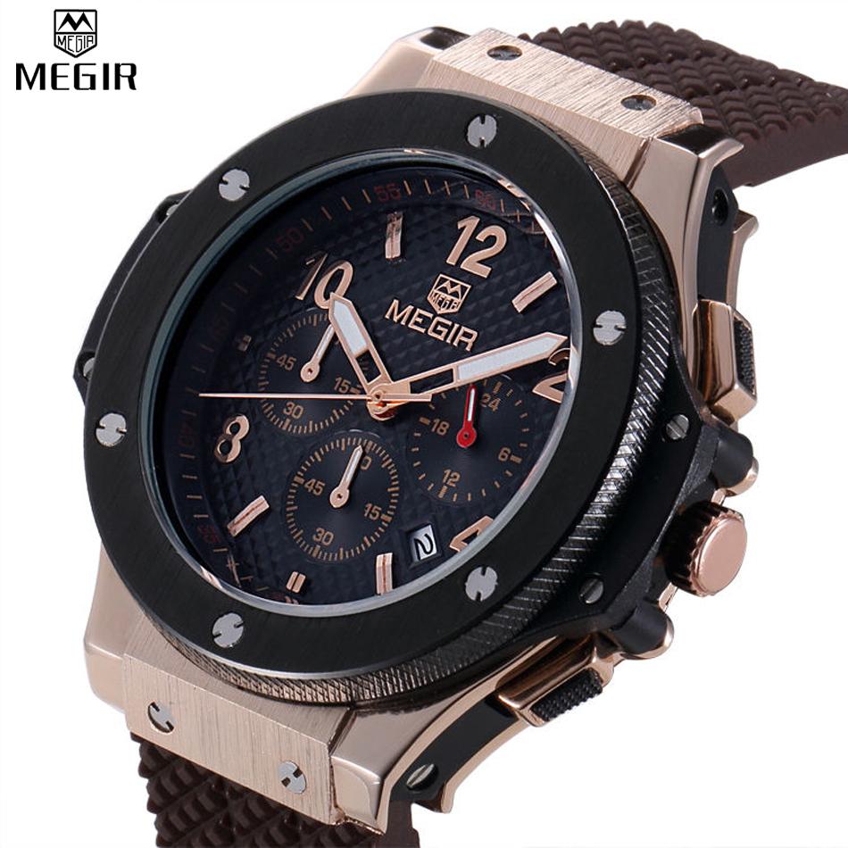 Prix pour Megir vélo chronographe hommes sport montres hommes de quartz auto date horloge top marque de luxe homme or rose montres relojes hombre