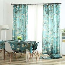 Meijuner Floral Curtain Velvet Hemp Fabric Polyester Nordic Vogue Style Hook or Ring Suspension For living Room A007