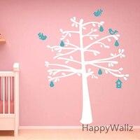 Baby Nursery Boom Muurstickers Huis Vogels Boom Muurtattoo Kids kamer diy boom sticker met plank hot koop gratis verzending t37