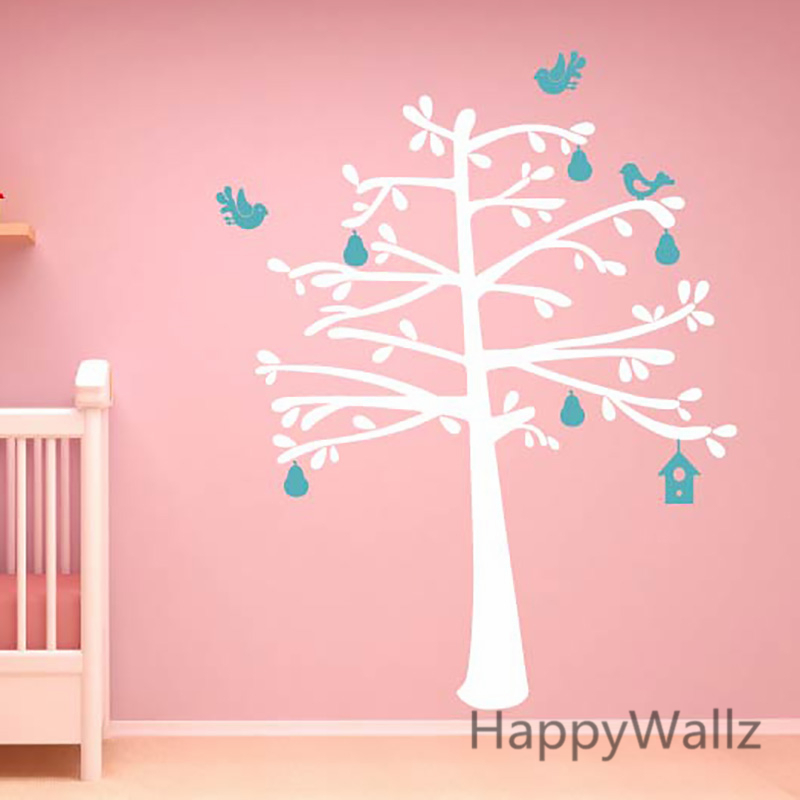 Baby nursery tree wall stickers house birds tree wall for Wall decals kids room