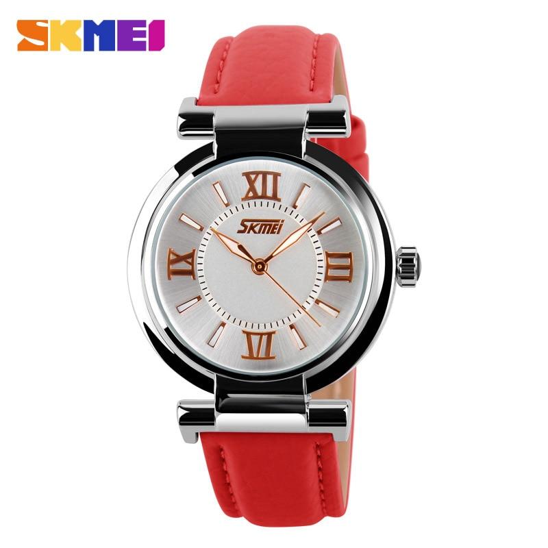 SKMEI Watch Women Fashion Luxury Brand Watches 3Bar Waterproof Simple Leather Strap Women Quartz Wristwatches Reloj Mujer 9075