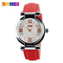 SKMEI Uhr Frauen Mode Luxus Marke Uhren 3Bar Wasserdicht Einfache Lederband Frauen Quarz Armbanduhren reloj mujer 9075