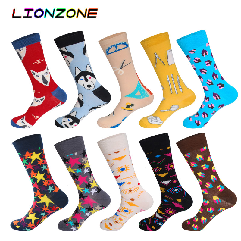 10 Pairs/Lot Men Socks Combed Cotton Wolf Fox Block&Star Design Muti Colored Funny Happy Dress Male Socks + Free Gift