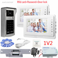 Video Intercom For The Apartment 2 Units 7 Color Monitors Doorphones Rfid Keypad Waterproof Intercom Camera