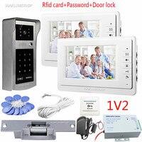 Video Intercom For The Apartment 2 Units 7 Color Monitors Doorphones Rfid Keypad Waterproof Intercom Camera