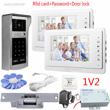 Video Intercom For The Apartment 2 Units 7″ Color Monitors Doorphones Rfid Keypad Waterproof Intercom Camera With Eletronic Lock