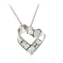 Measure Necklace Twisted Heart shaped ruler Pendant Scale Measuring tape Necklace for Women Men Jewelry Gift For Teacher Student(China)