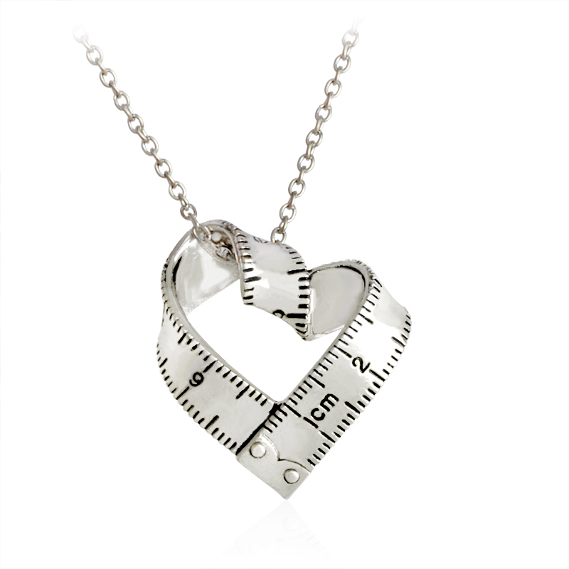 Measure Necklace Twisted Heart shaped ruler Pendant Scale Mes