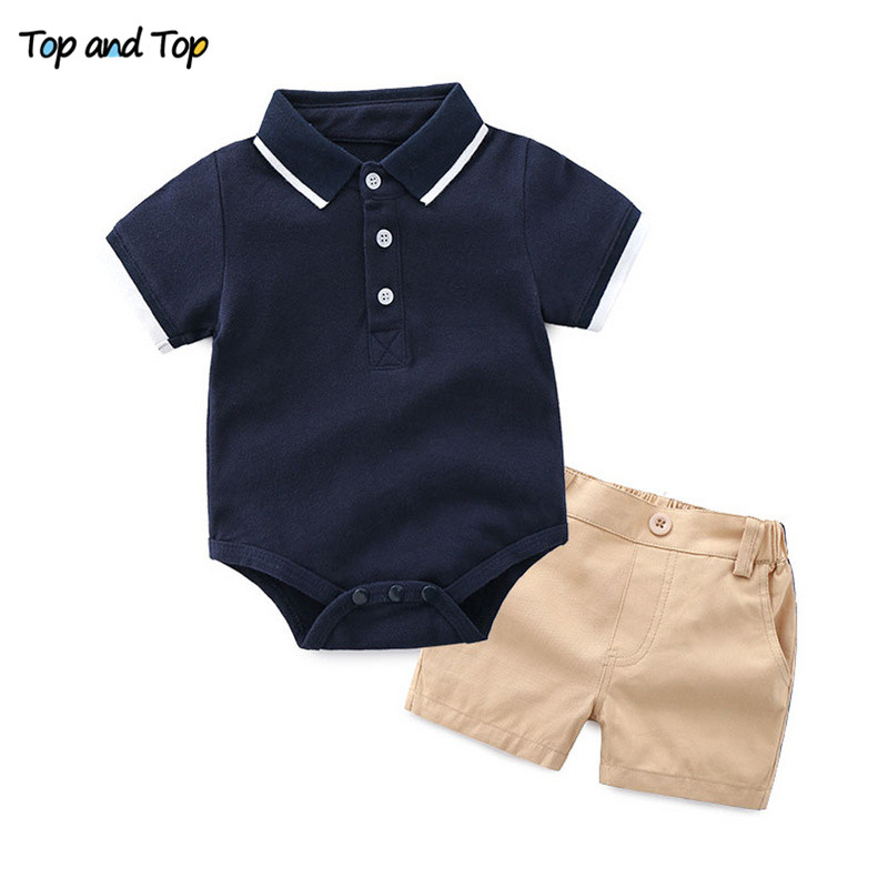 Top and Top Baby Boy Clothing Set Summer Cotton Short Sleeve Romper Tops+Shorts Infant Boys Outfits Toddler Boy Clothes