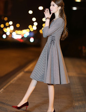 Flying ROC Free shipping 2019 new style slimming Plaid dress early autumn womens popular